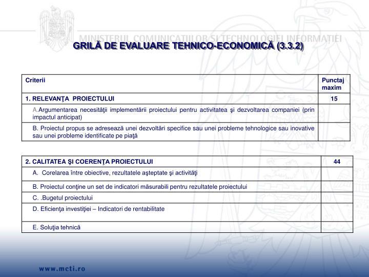GRILĂ DE EVALUARE TEHNICO-ECONOMICĂ (3.3.2)
