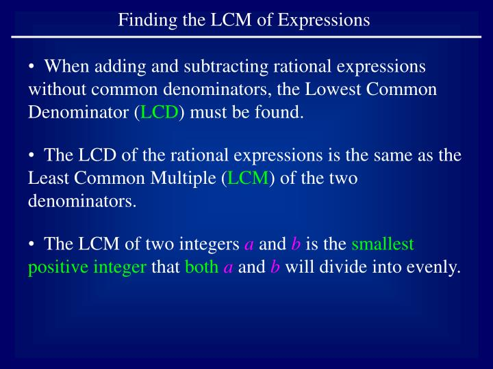 Finding the LCM of Expressions