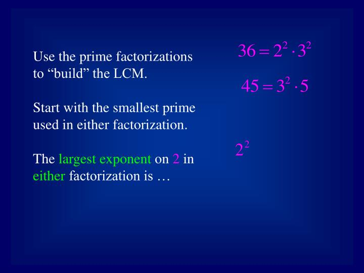 "Use the prime factorizations to ""build"" the LCM."