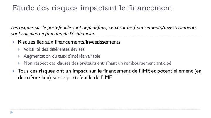 Etude des risques impactant le financement