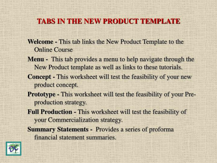TABS IN THE NEW PRODUCT TEMPLATE