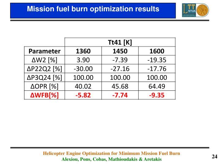 Mission fuel burn optimization results
