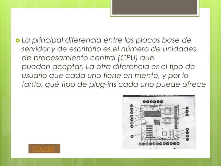 La principal diferencia entre las placas base de servidor y de escritorio es el número de unidades de procesamiento central (CPU) que pueden