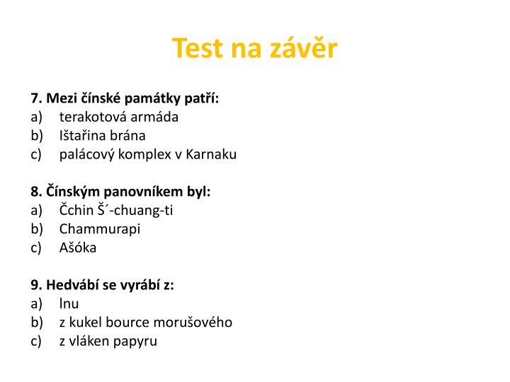 Test na závěr