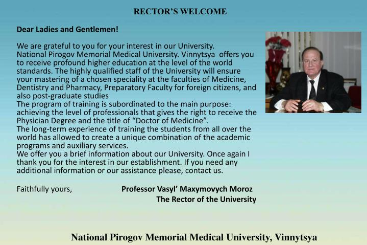 RECTOR'S WELCOME