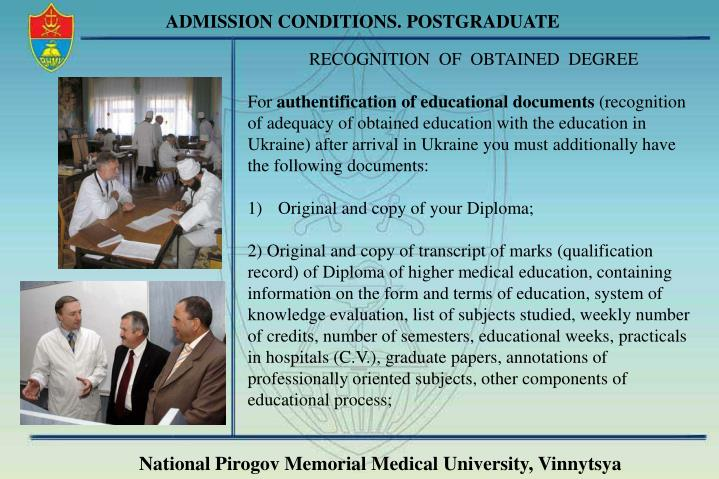 ADMISSION CONDITIONS. POSTGRADUATE