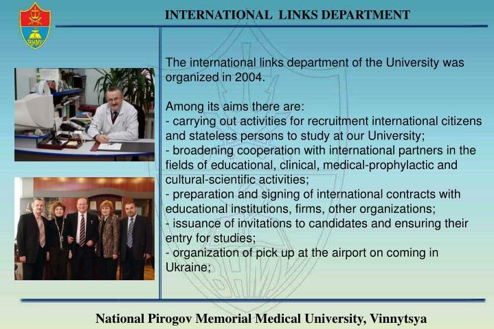 INTERNATIONAL  LINKS DEPARTMENT