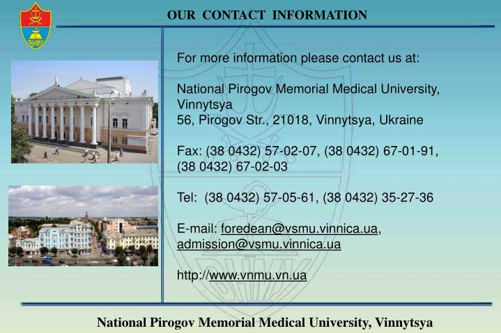 OUR  CONTACT  INFORMATION