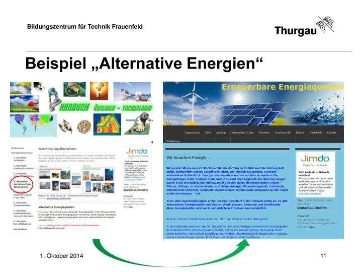 "Beispiel ""Alternative Energien"""