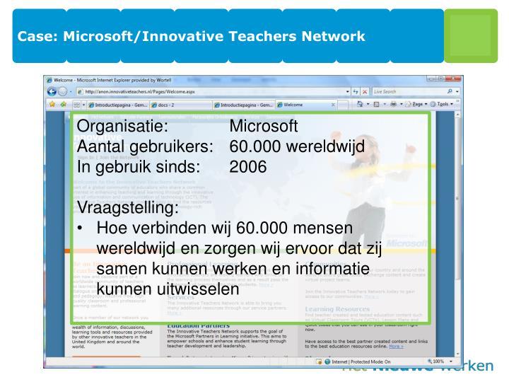 Case: Microsoft/Innovative Teachers Network