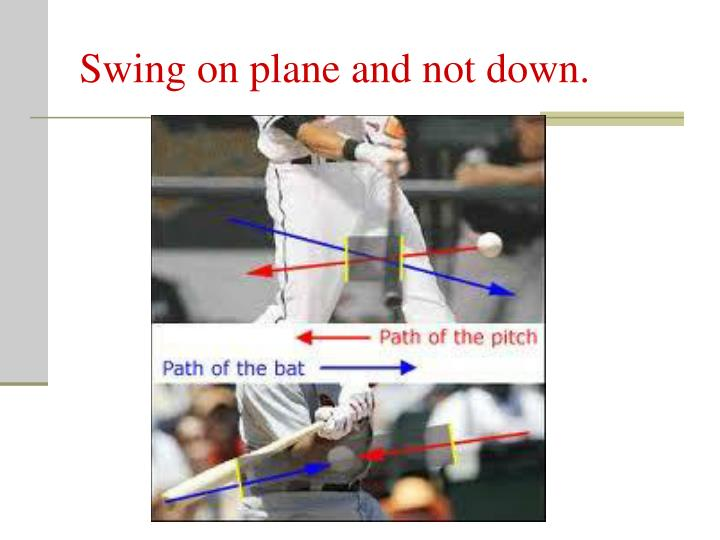 Swing on plane and not down.