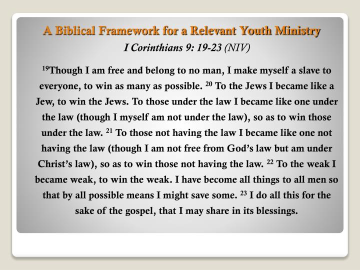 A Biblical Framework for a Relevant Youth Ministry