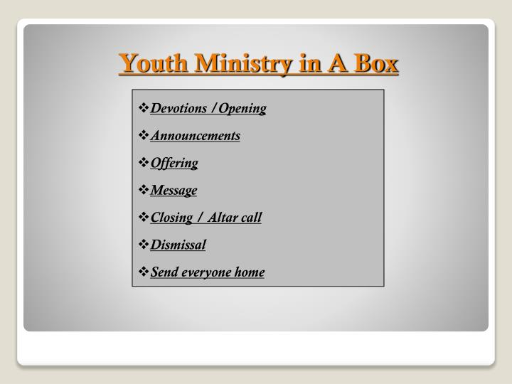 Youth Ministry in A Box