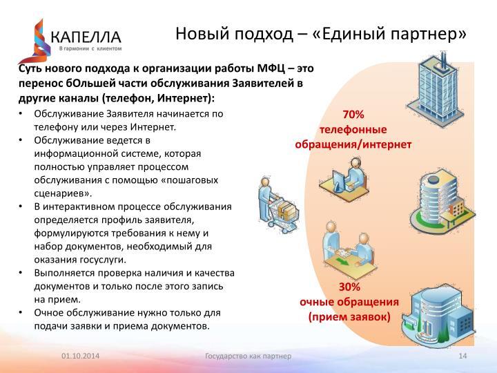 Новый подход – «Единый партнер»