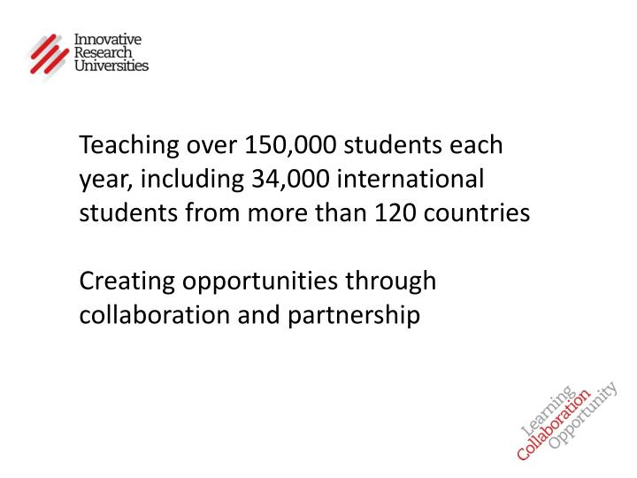 Teaching over 150,000 students each year, including 34,000 international students from more than 120 countries