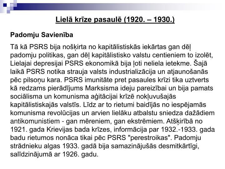 Liel krze pasaul (1920.  1930.)