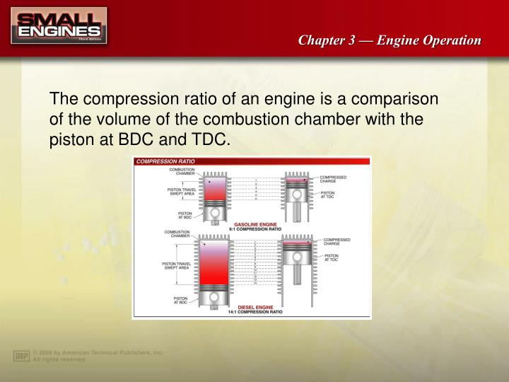 The compression ratio of an engine is a comparison of the volume of the combustion chamber with the piston at BDC and TDC.