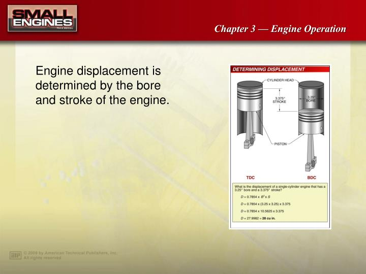 Engine displacement is determined by the bore and stroke of the engine.
