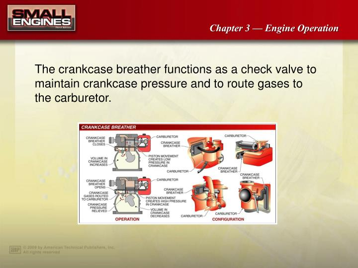 The crankcase breather functions as a check valve to maintain crankcase pressure and to route gases to the carburetor.