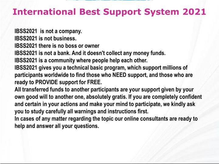 International Best Support System 2021