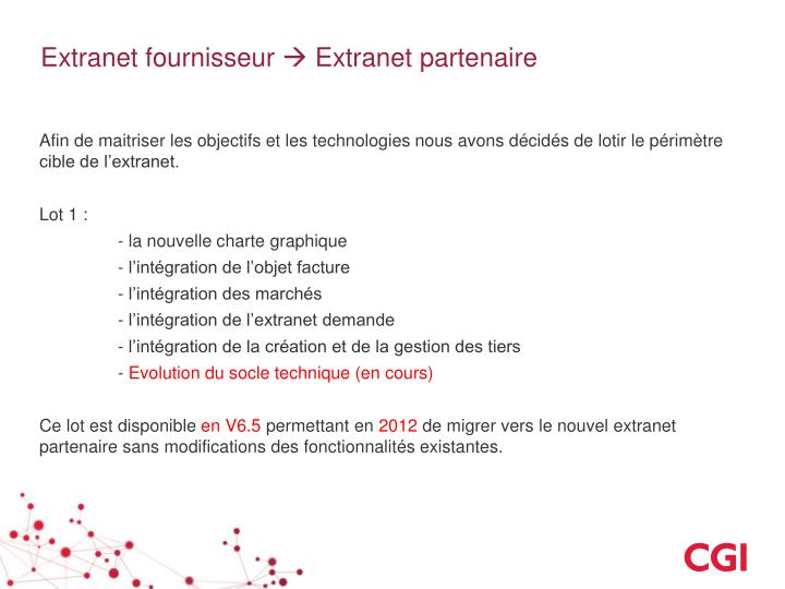 Extranet fournisseur