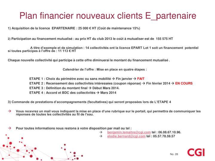 Plan financier nouveaux clients E_partenaire