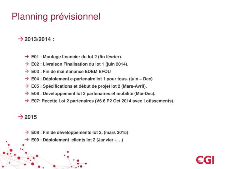 Planning prévisionnel
