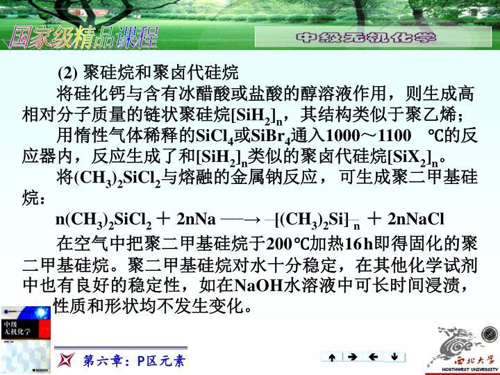 (2) 聚硅烷和聚卤代硅烷