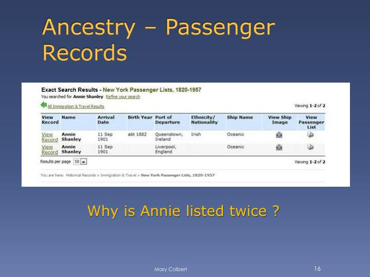 Ancestry – Passenger Records