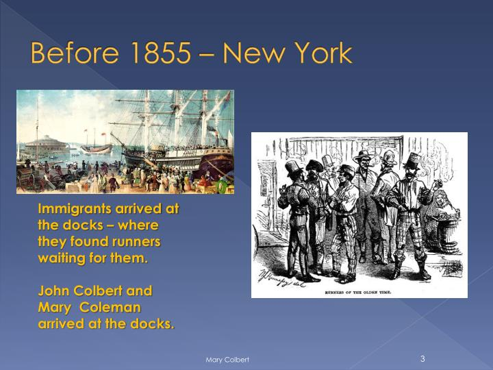 Before 1855 new york