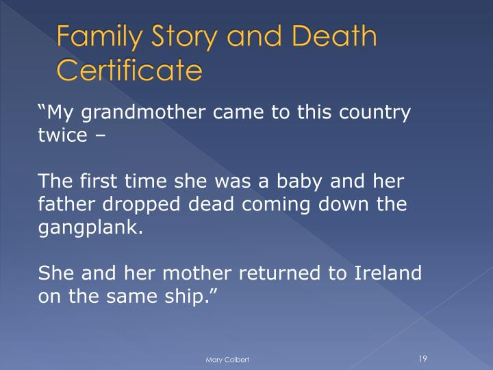 Family Story and Death Certificate