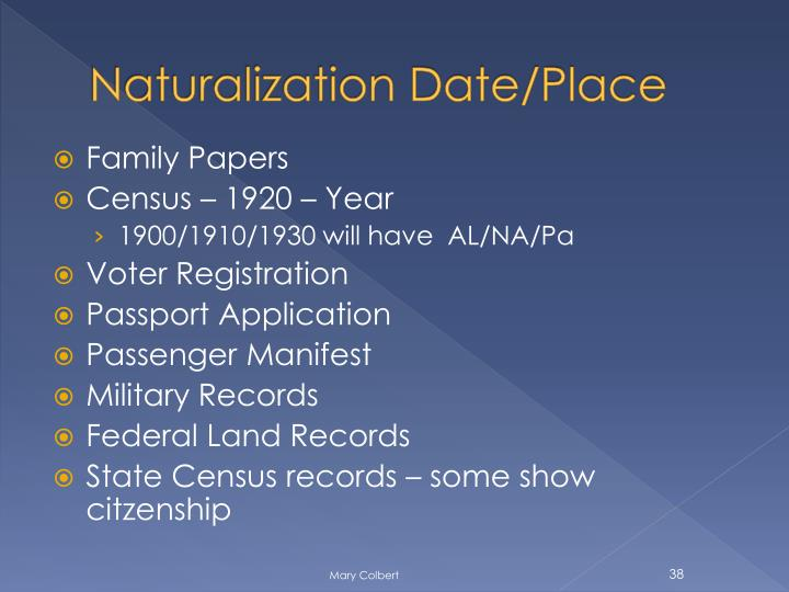 Naturalization Date/Place