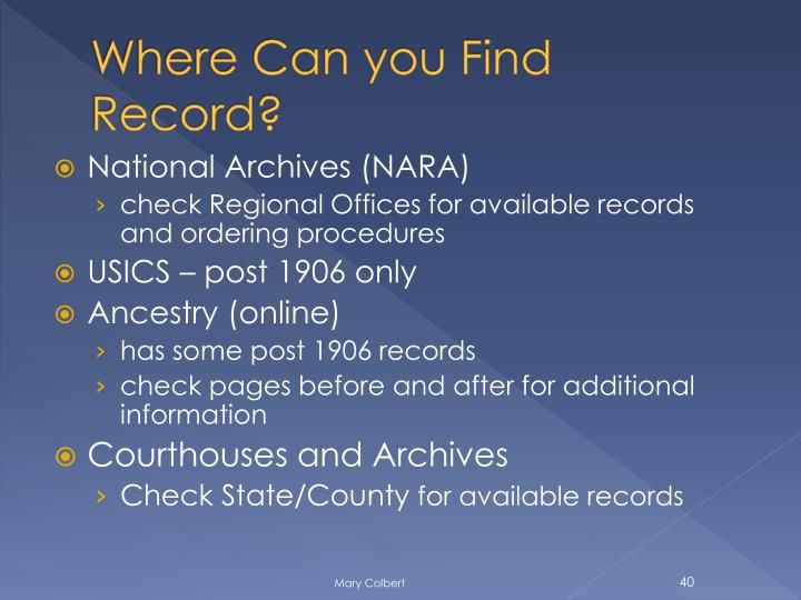 Where Can you Find Record?