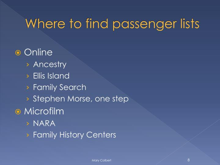Where to find passenger lists