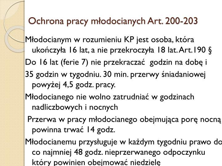Ochrona pracy młodocianych Art. 200-203