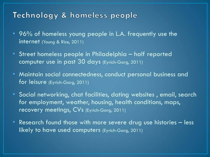 Technology & homeless people