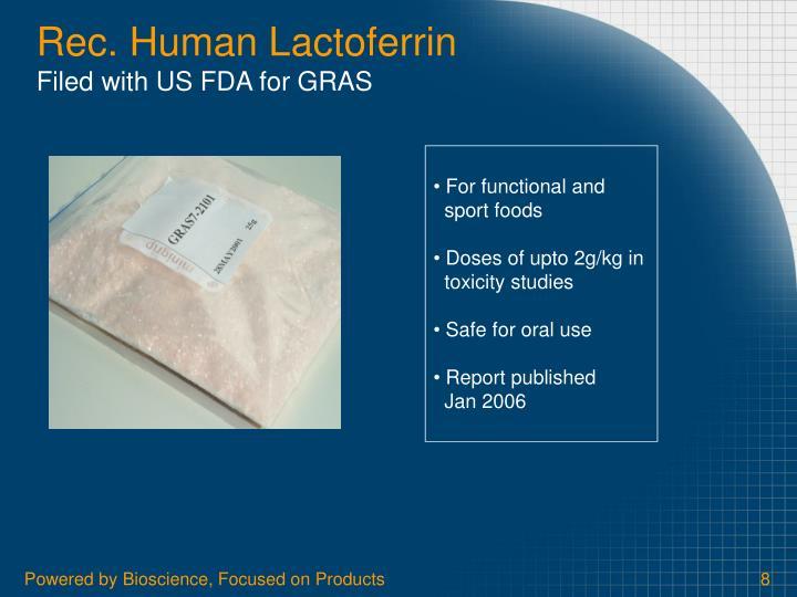 Rec. Human Lactoferrin