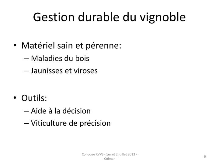 Gestion durable du vignoble