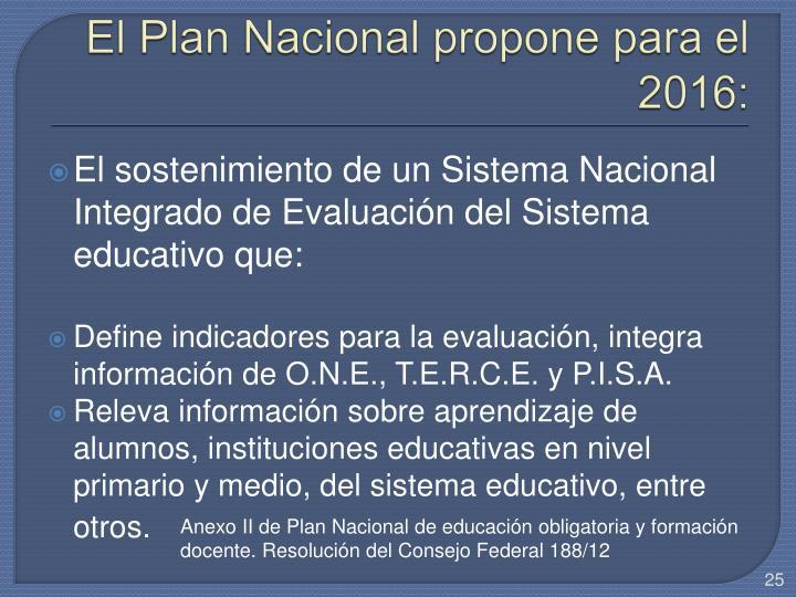 El Plan Nacional propone para el 2016: