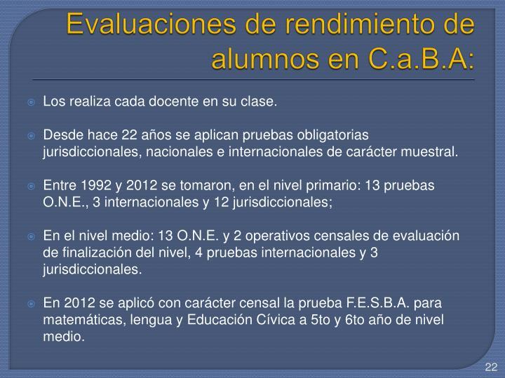 Evaluaciones de rendimiento de alumnos en