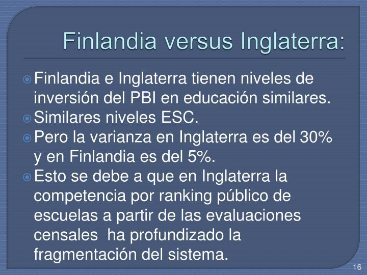 Finlandia versus Inglaterra: