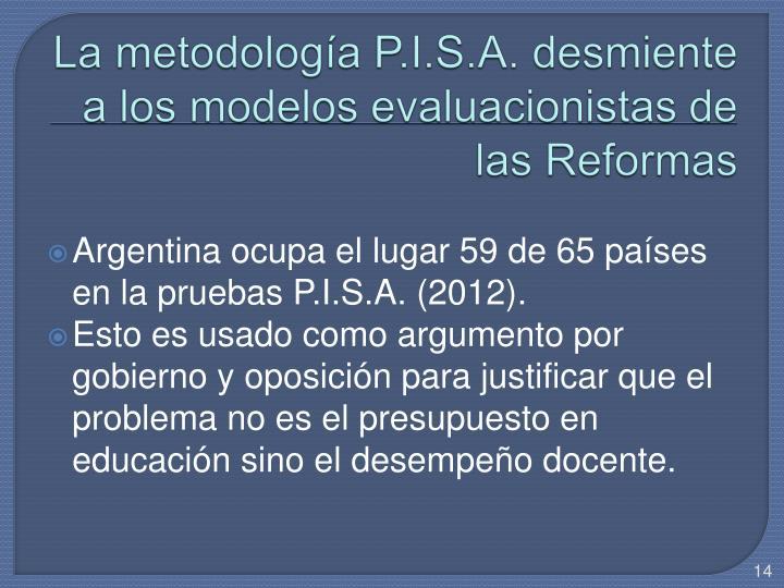 La metodología P.I.S.A. desmiente a los modelos