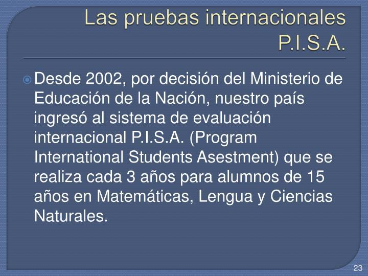 Las pruebas internacionales P.I.S.A.
