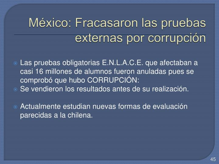 México: Fracasaron las pruebas externas por corrupción
