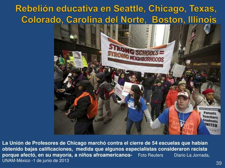 Rebelión educativa en Seattle, Chicago, Texas, Colorado, Carolina del Norte,  Boston, Illinois