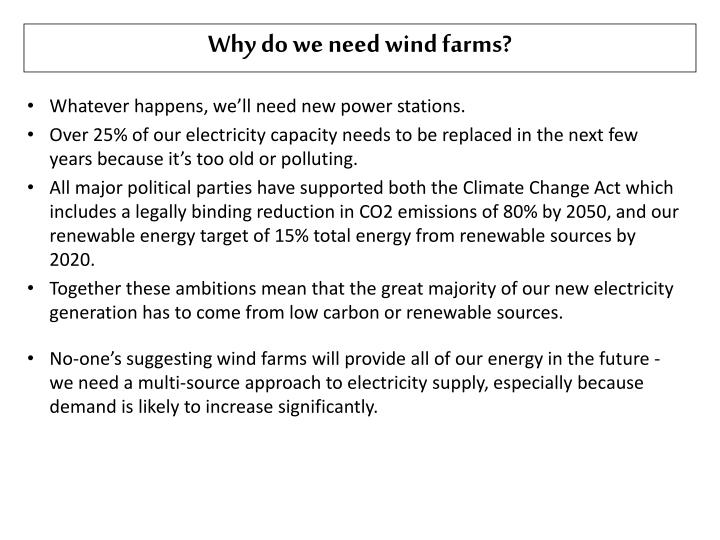 Why do we need wind farms?