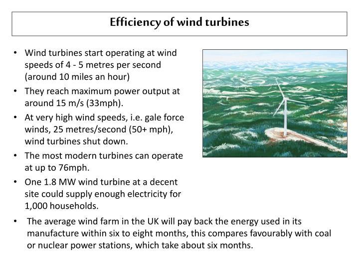 Efficiency of wind turbines