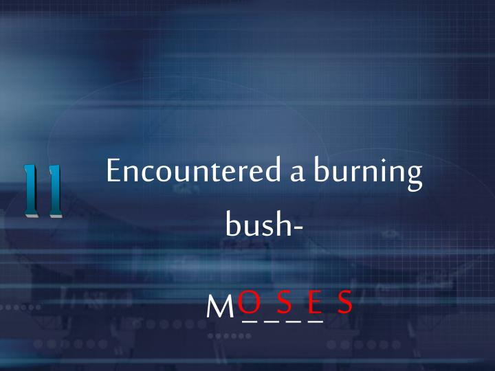 Encountered a burning bush-