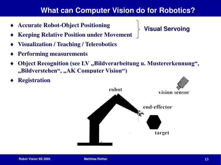 What can Computer Vision do for Robotics?