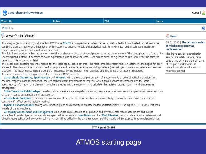 ATMOS starting page